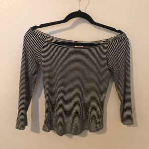 B&W Striped Off the Shoulder Top